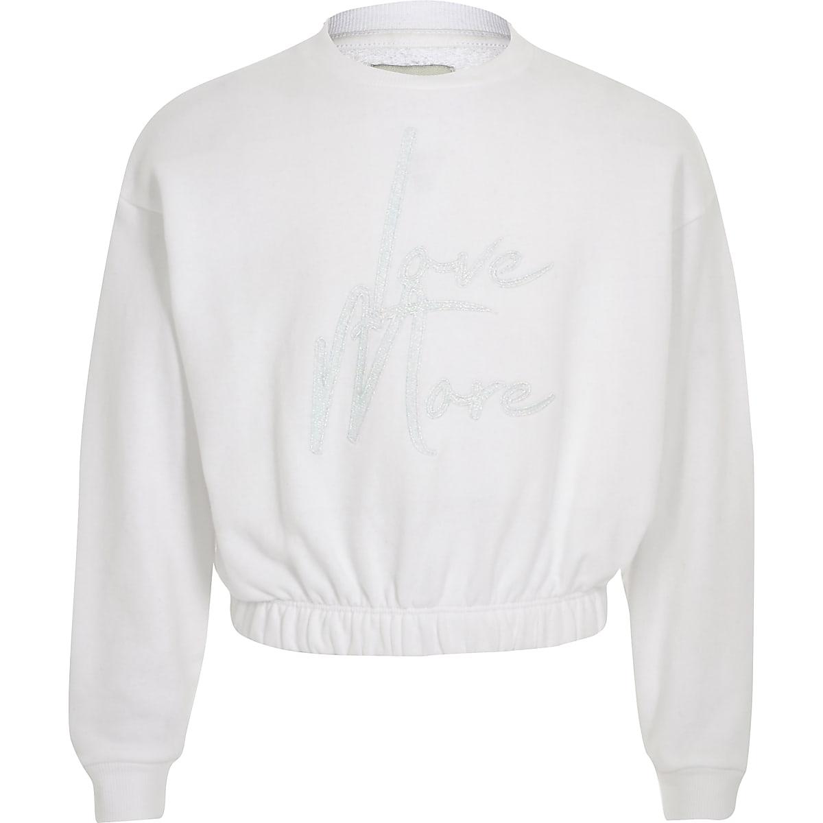 Wit sweatshirt met 'Love more'-print voor meisjes