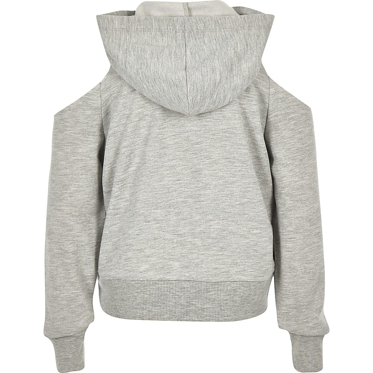 b9226ae74 Girls grey sequin tiger cold shoulder hoodie - Hoodies / Sweatshirts ...