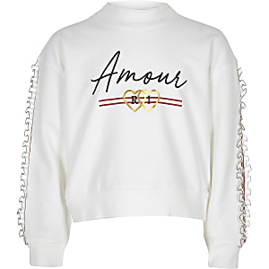 Girls white 'Amour' frill trim sweatshirt