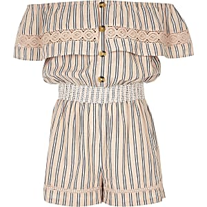 Girls pink stripe bardot playsuit