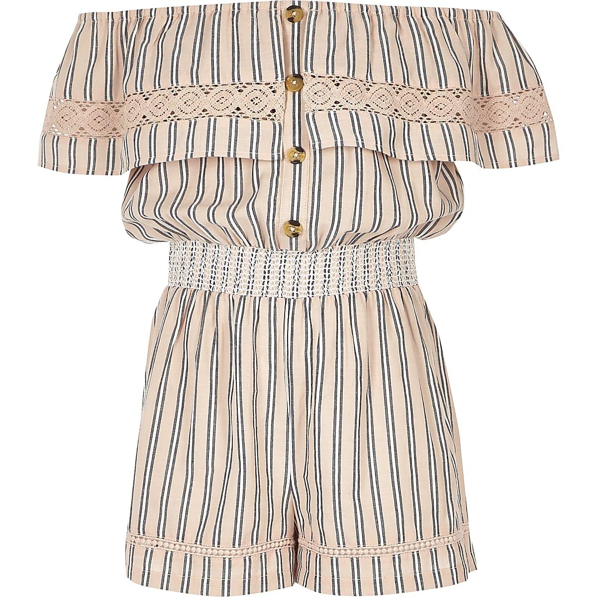 Girls pink stripe bardot playsuit