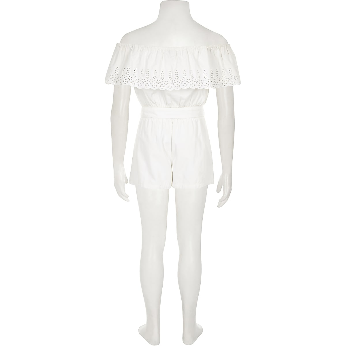 36c801436 Girls white broderie bardot playsuit - Playsuits - Playsuits ...