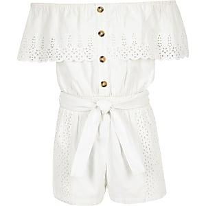 Combi-short Bardot blanc avec broderie anglaise pour fille