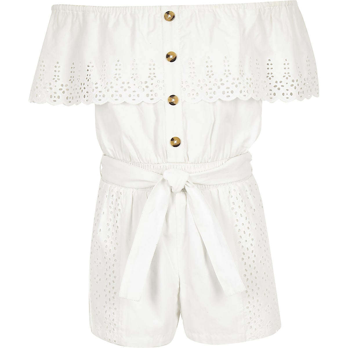 Girls white broderie bardot playsuit