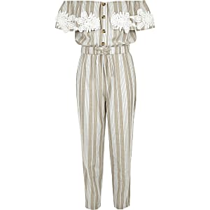Girls beige stripe bardot jumpsuit