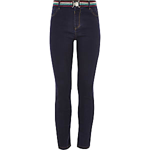 Girls blue Molly rainbow belt jeggings