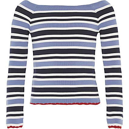 Girls blue stripe bardot top