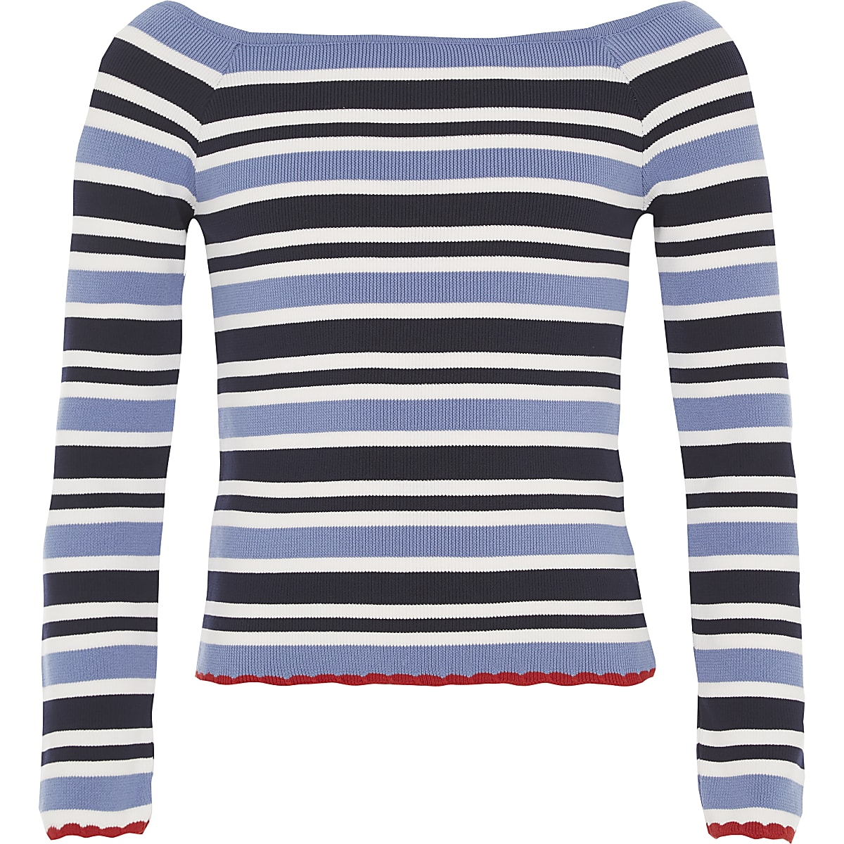 Girls blue stripe bardot top