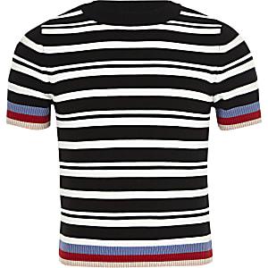 T-shirt ajusté rayé noir pour fille