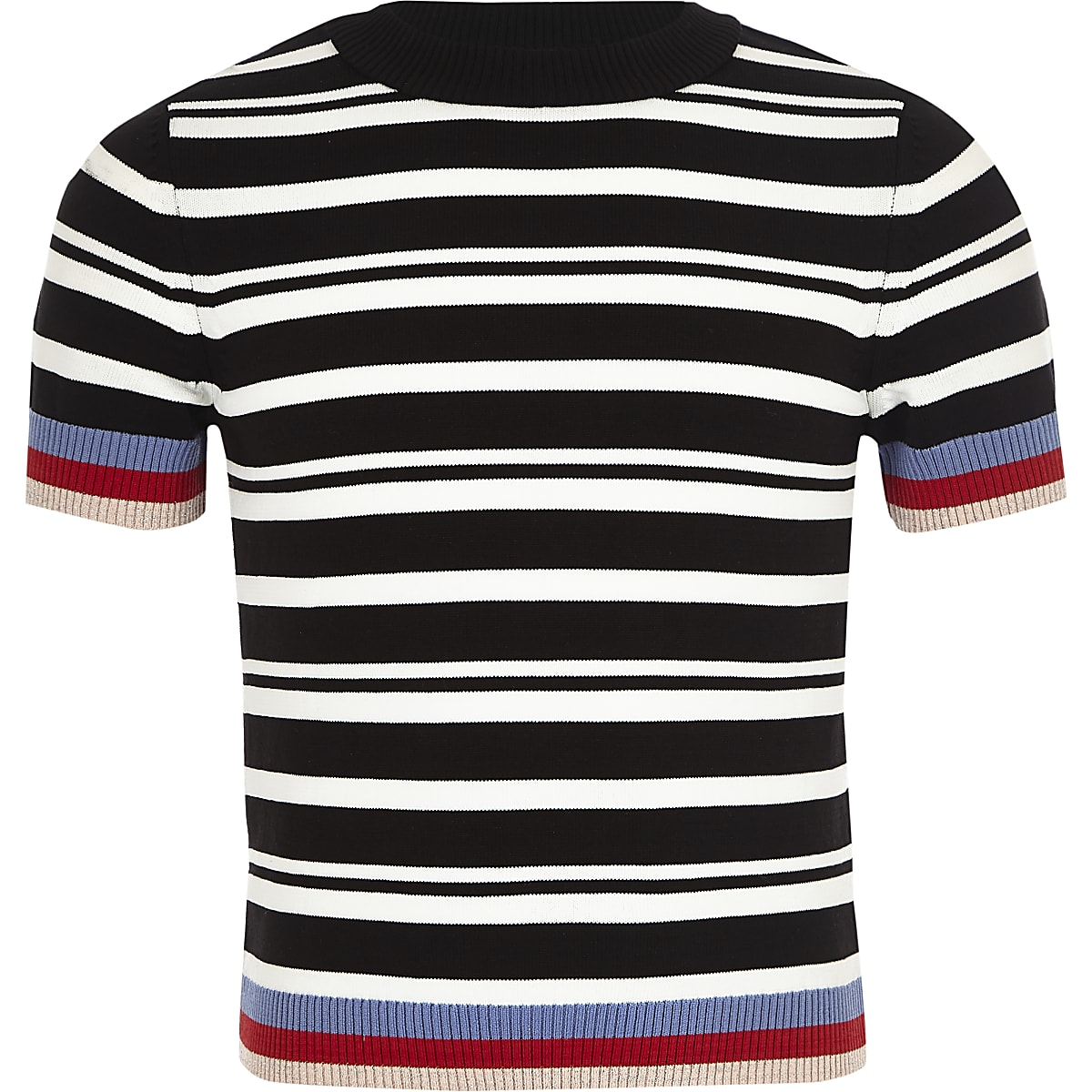 Girls black stripe fitted T-shirt