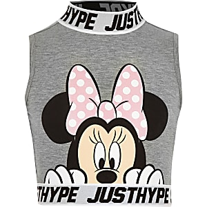 8344d47b1443bd Girls Hype Minnie mouse grey crop top