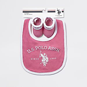 U.S. POLO ASSN. – Pinkes Set mit Lätzchen
