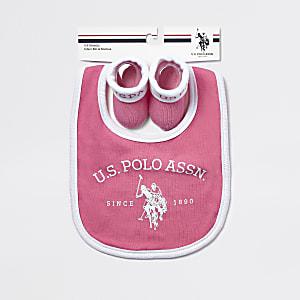 U.S. POLO ASSN. - Set roze slabbetjes voor baby's