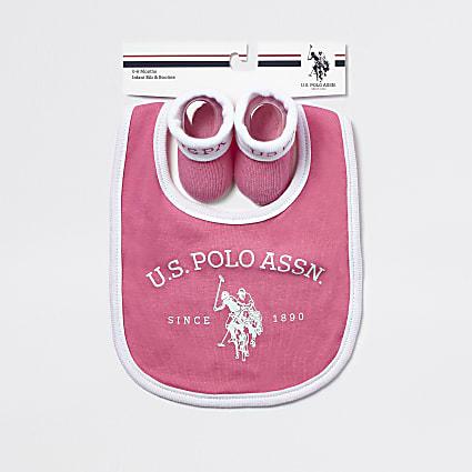 Baby U.S. POLO ASSN. pink bib set