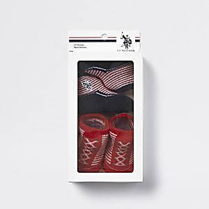 U.S. POLO ASSN. – Chaussons rayés rouges pour bébé