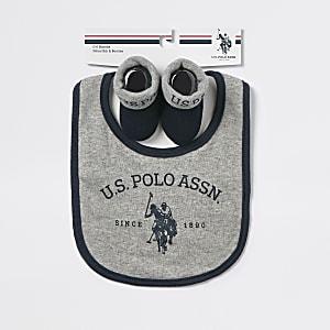 U.S. POLO ASSN. – Ensemble avec bavoir gris pour bébé