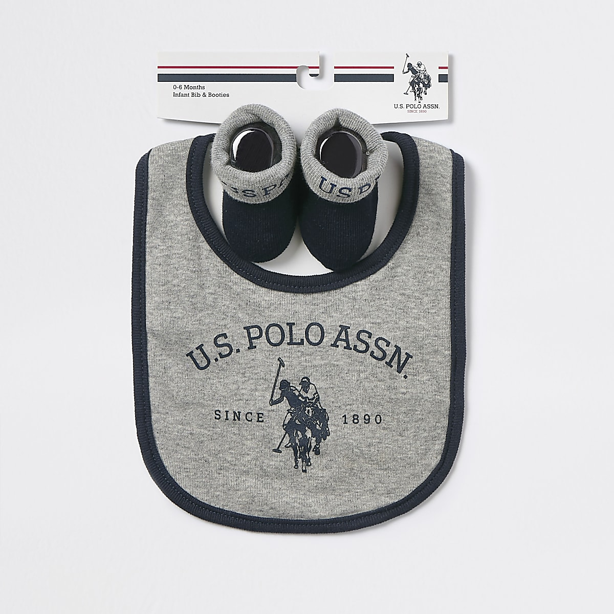 Baby U.S. POLO ASSN. grey bib set