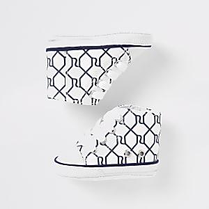 Marineblauwe hoge laarzen met RI-monogram voor baby's