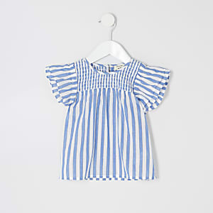 Mini girls blue stripe smock top