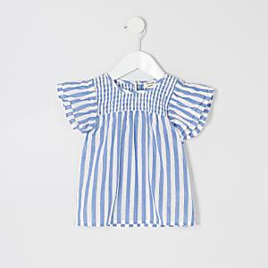 Mini - Blauwe gestreepte gesmokte top voor meisjes