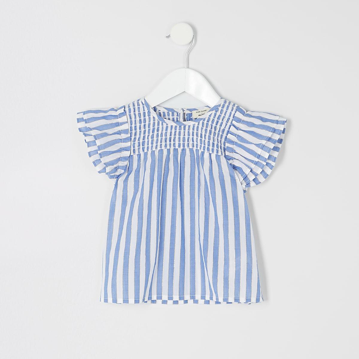 Mini girls blue stripe smock top