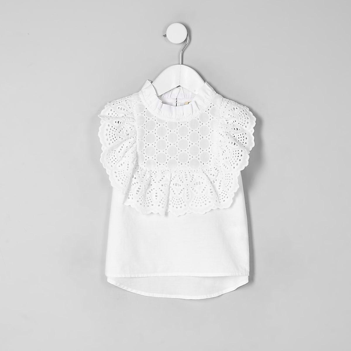 Mini girls white broderie sleeveless top