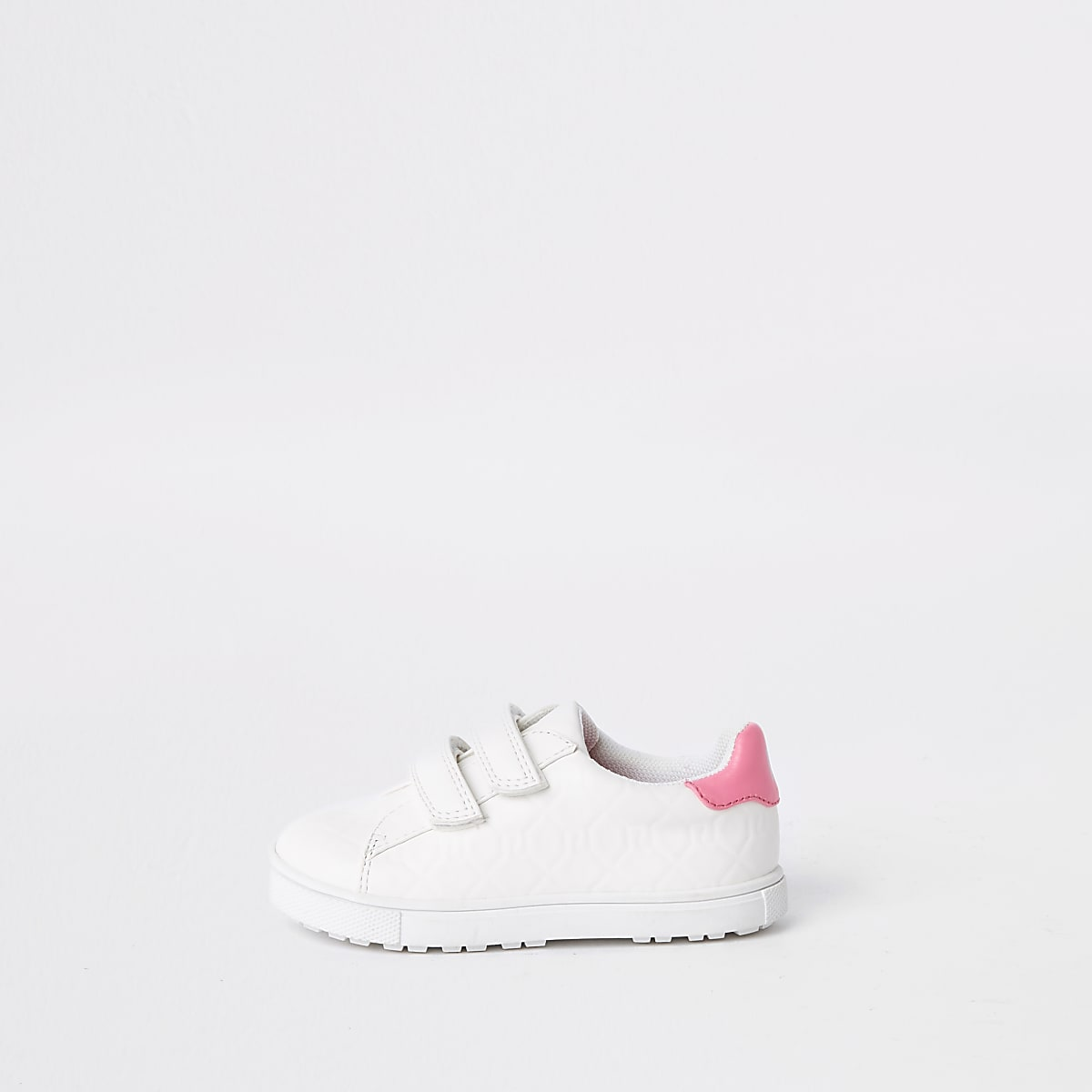 Mini girls white RI monogram sneakers