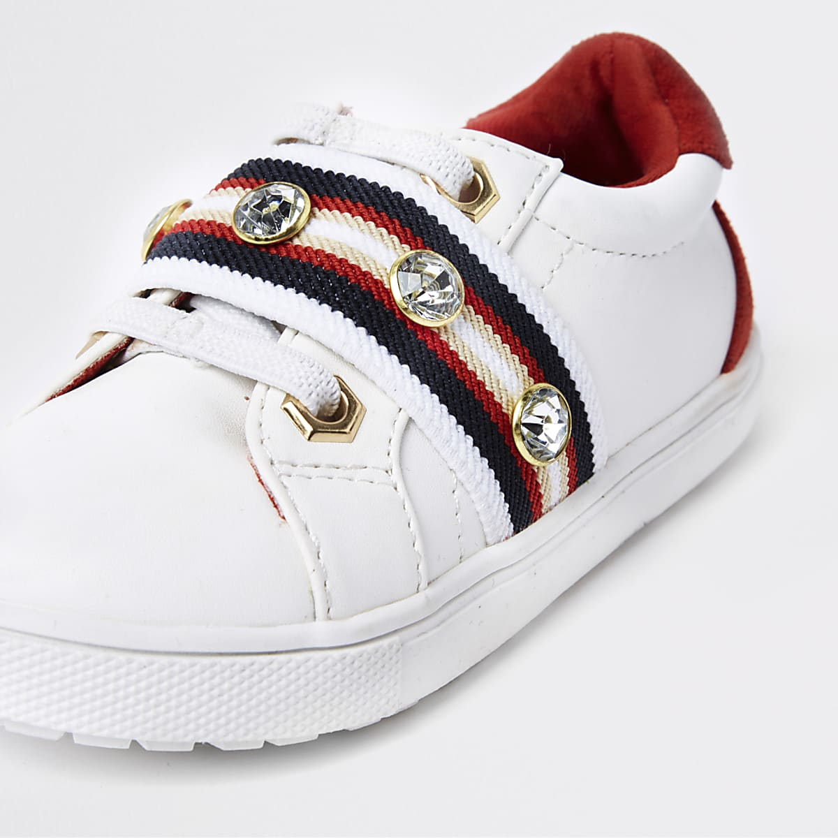 5cb452e059b Mini girls white gem tape plimsolls - Baby Girls Trainers - Baby ...
