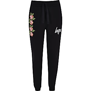 Girls Hype black floral joggers