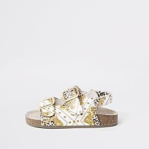 Sandales imprimé baroque marron à semelle en liège mini fille