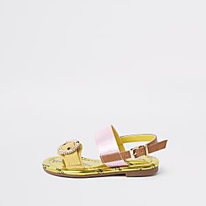 Sandales jaunes à pierreries et boucle mini fille