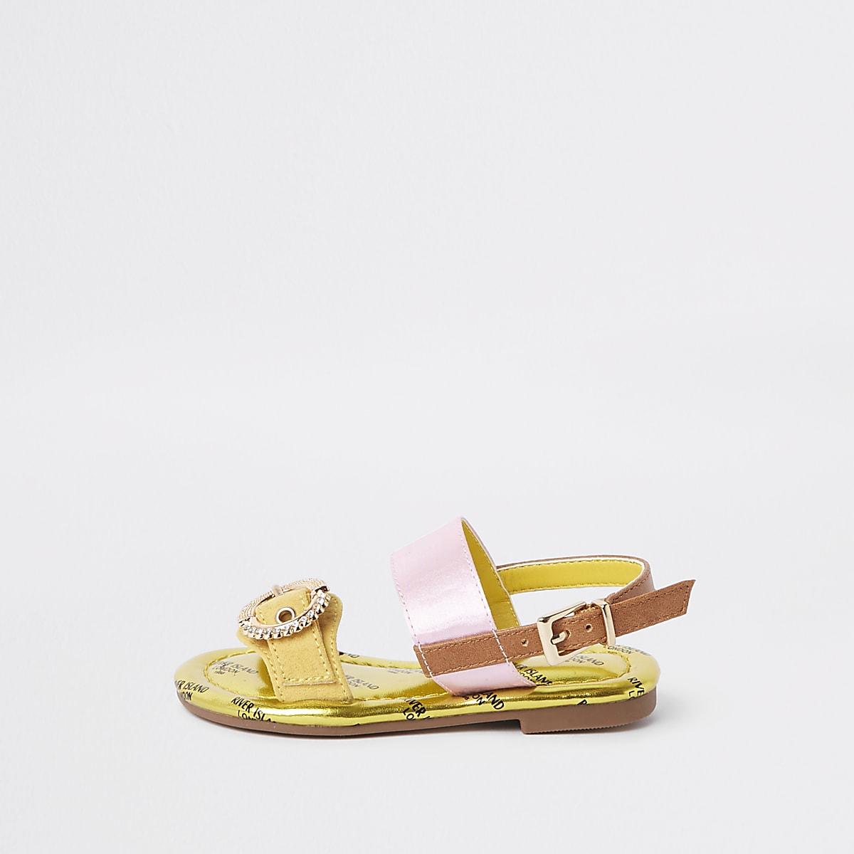 Mini girls yellow gem buckle sandals