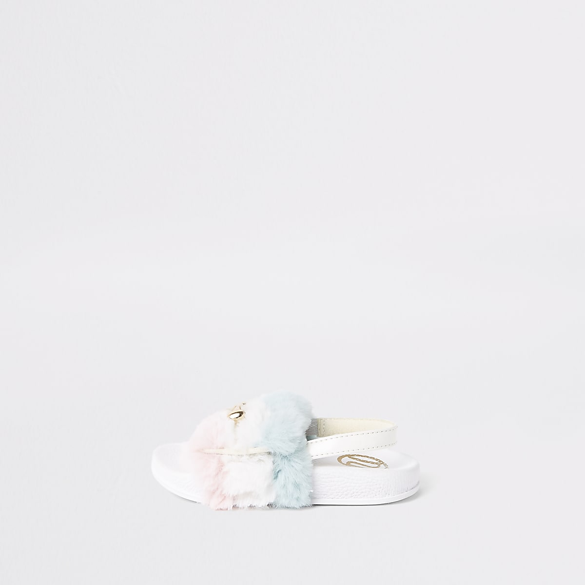 Mini girls white faux fur snaffle sliders