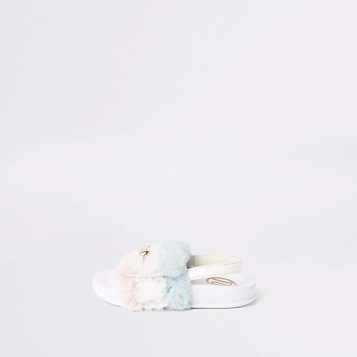 Mini - Witte slippers met imitatiebont en kettinkje voor meisjes