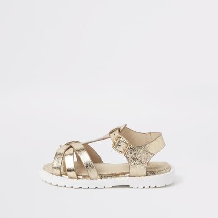 Mini girls gold clumpy sandals