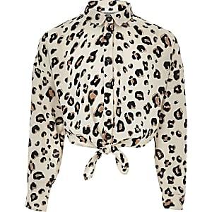 Braunes Hemd mit Leopardenprint