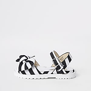 babc90224c6e Mini girls black stripe chunky sandals