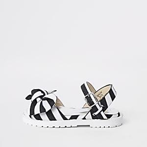 Mini - Zwarte gestreepte sandalen met dikke zool voor meisjes