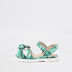 Mini - Groene stevige sandalen met bladprint voor meisjes
