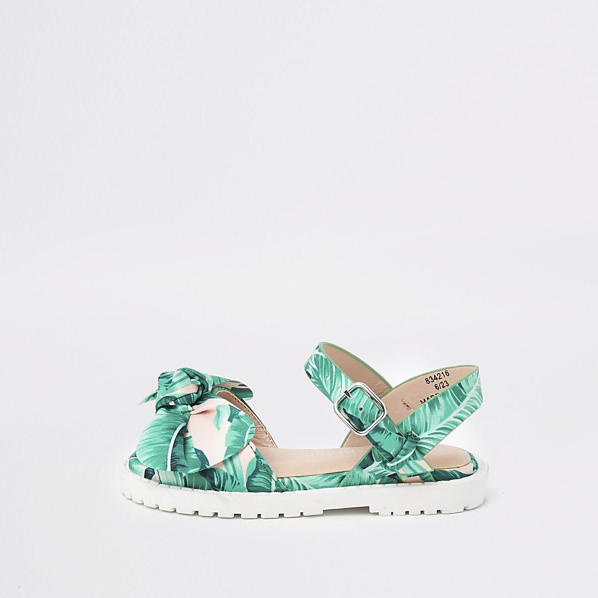 Mini girls green leaf print chunky sandals