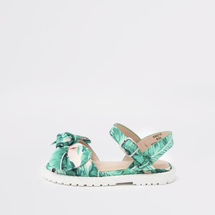 Mini girls green leaf print chunky sandals