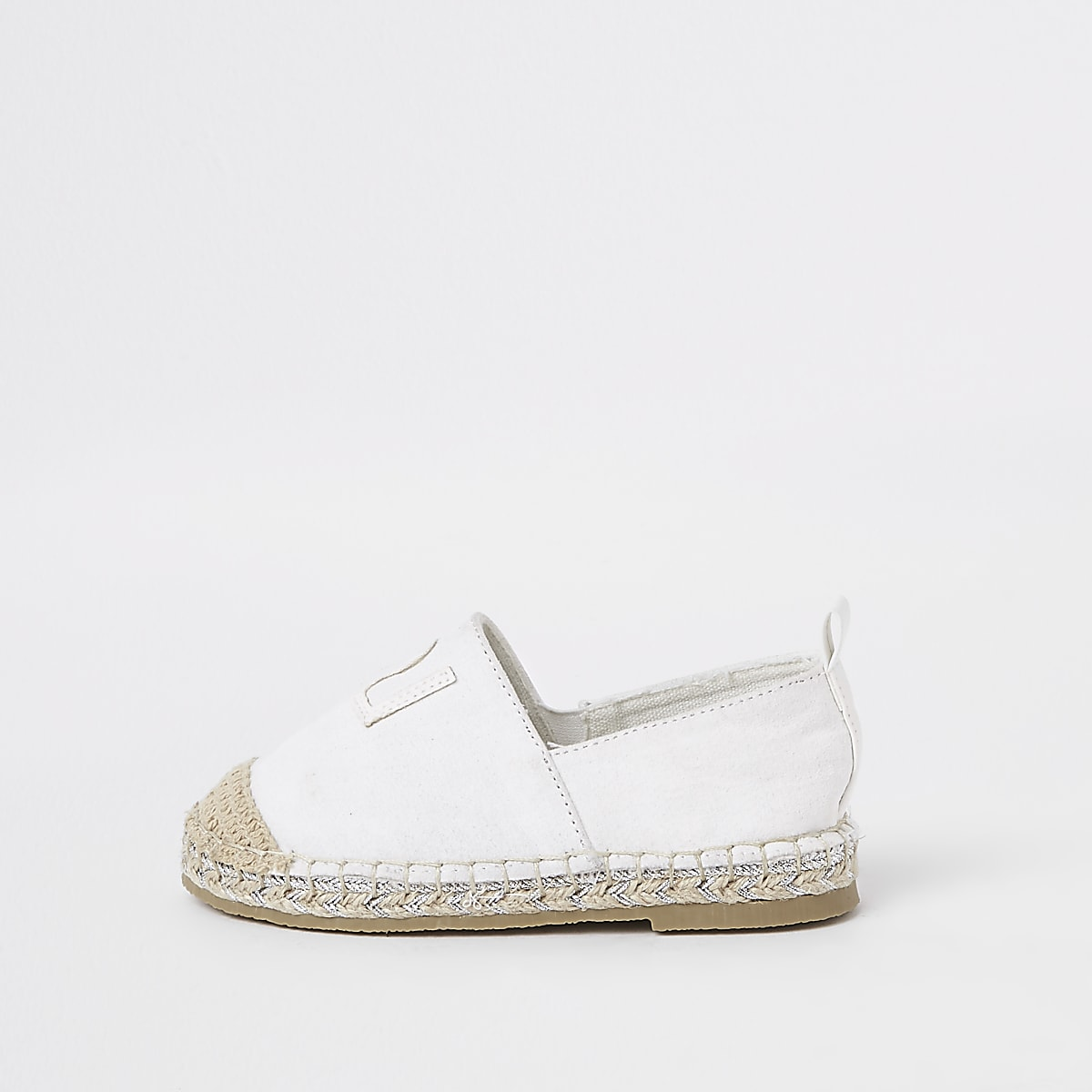 Mini girls white glitter espadrille plimsoll