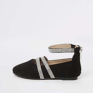 Mini - Zwarte ballerinapumps met diamantjes voor meisjes