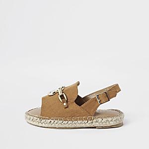 Sandales marron façon espadrilles avec chaîne pour mini fille
