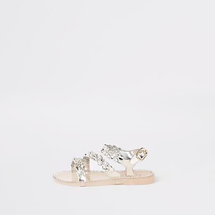 Mini girls gold diamante jelly sandals