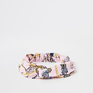 Roze gedraaide hoofdband met schelpenprint voor meisjes
