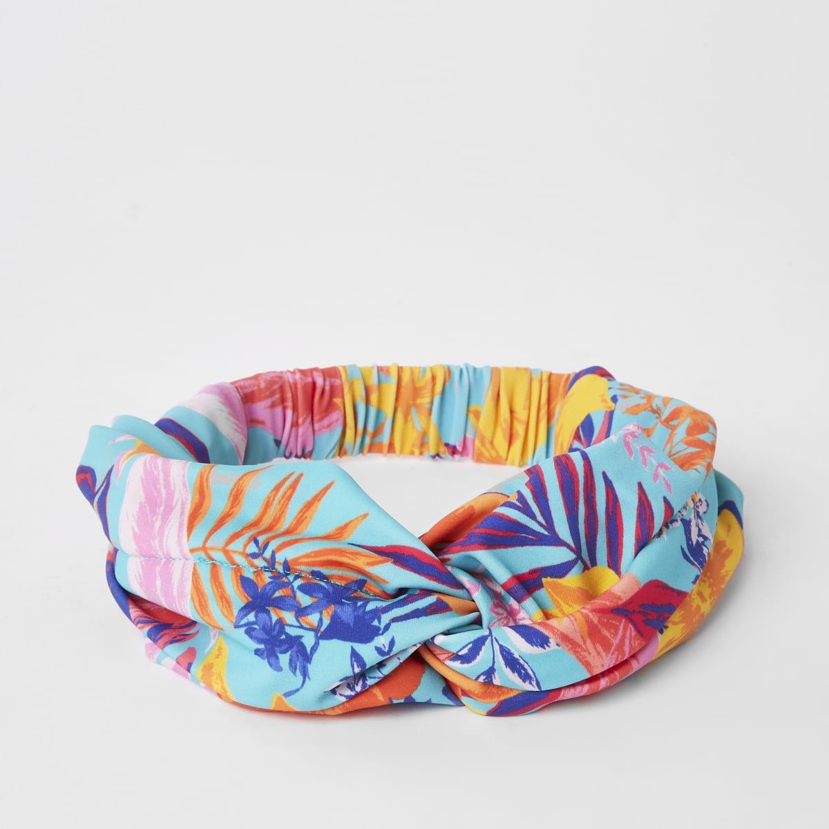 Girls blue tropical print twist swim headband