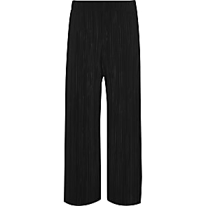 Girls black plisse wide leg trousers