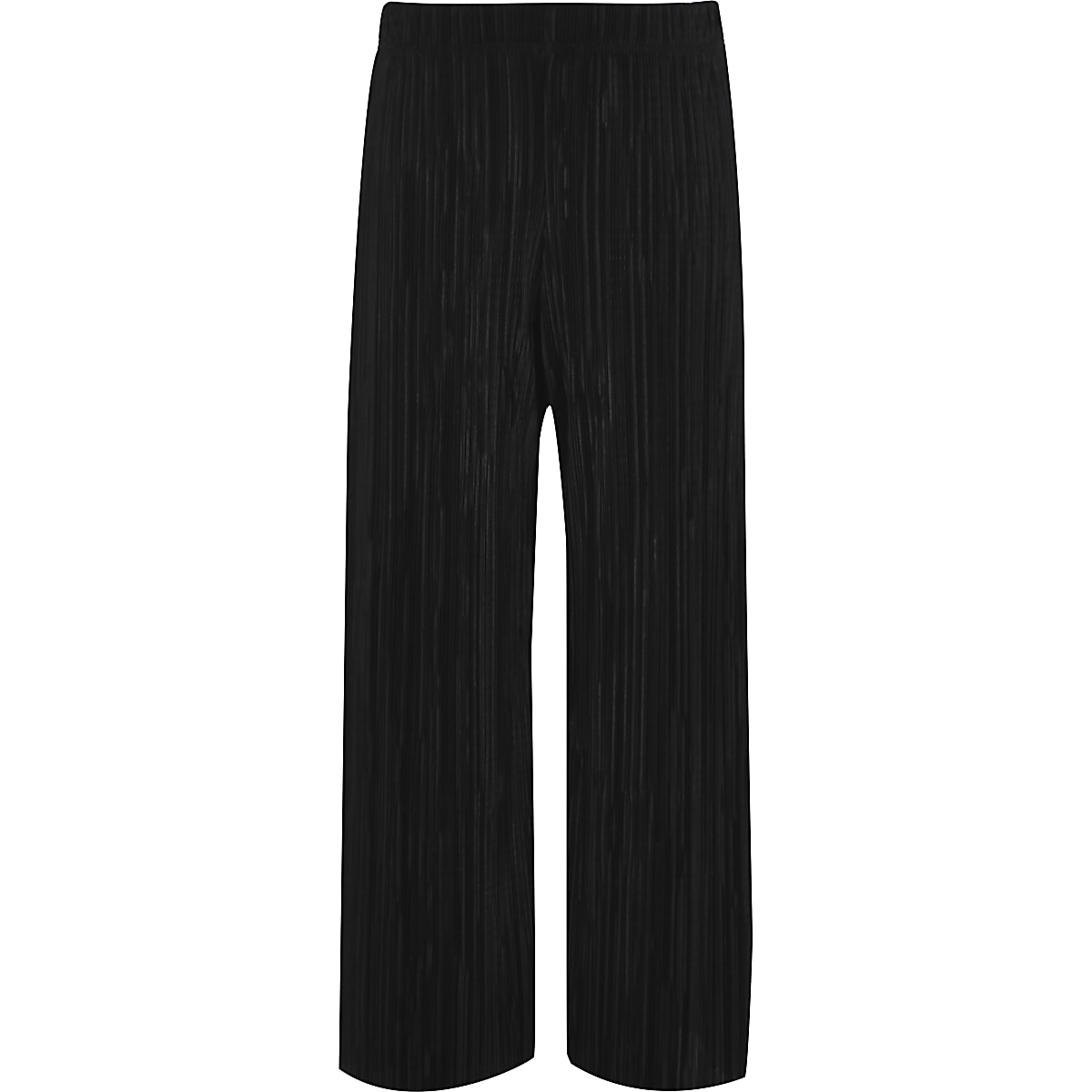 Girls black plisse wide leg trousers