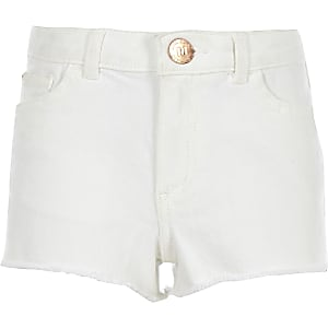 Girls white Becca boyfriend denim shorts